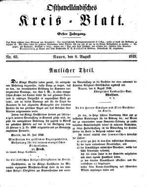 Osthavelländisches Kreisblatt vom 08.08.1849