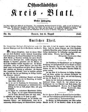Osthavelländisches Kreisblatt vom 11.08.1849