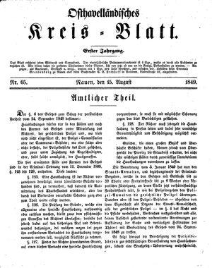 Osthavelländisches Kreisblatt vom 15.08.1849