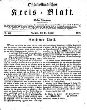 Osthavelländisches Kreisblatt vom 18.08.1849
