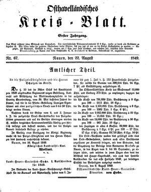 Osthavelländisches Kreisblatt on Aug 22, 1849