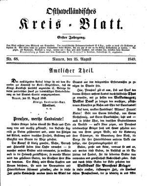 Osthavelländisches Kreisblatt vom 25.08.1849