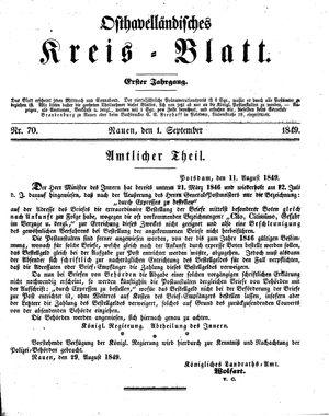 Osthavelländisches Kreisblatt vom 01.09.1849