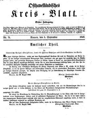 Osthavelländisches Kreisblatt vom 05.09.1849