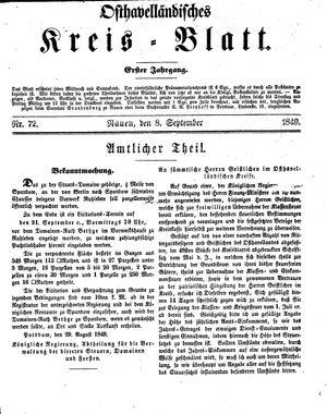 Osthavelländisches Kreisblatt vom 08.09.1849