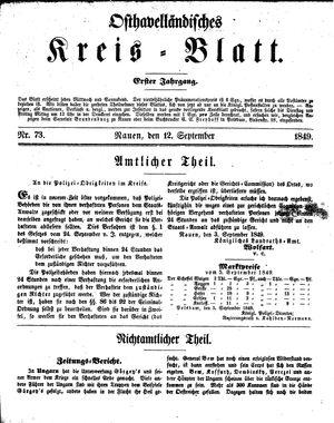 Osthavelländisches Kreisblatt vom 12.09.1849