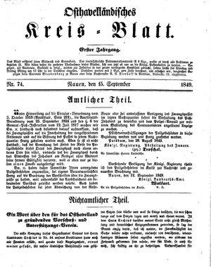 Osthavelländisches Kreisblatt vom 15.09.1849