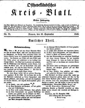 Osthavelländisches Kreisblatt vom 19.09.1849
