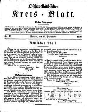 Osthavelländisches Kreisblatt vom 22.09.1849