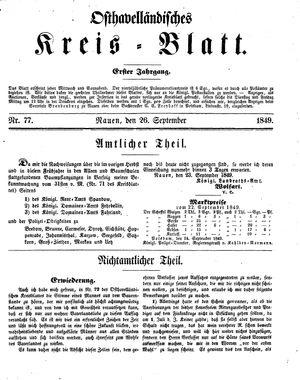 Osthavelländisches Kreisblatt vom 26.09.1849