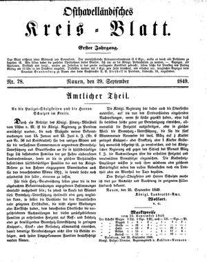 Osthavelländisches Kreisblatt vom 29.09.1849