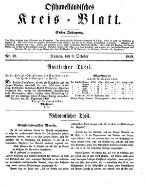 Osthavelländisches Kreisblatt vom 03.10.1849