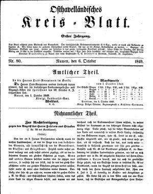Osthavelländisches Kreisblatt vom 06.10.1849