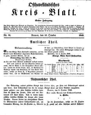 Osthavelländisches Kreisblatt vom 10.10.1849