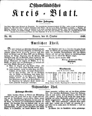 Osthavelländisches Kreisblatt on Oct 13, 1849