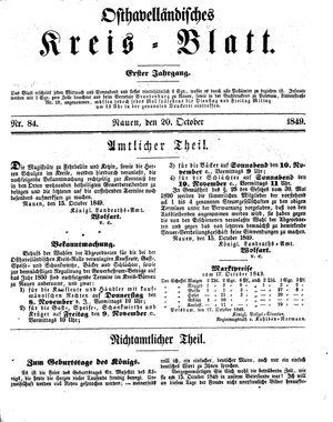 Osthavelländisches Kreisblatt on Oct 20, 1849