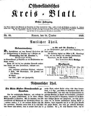 Osthavelländisches Kreisblatt on Oct 24, 1849