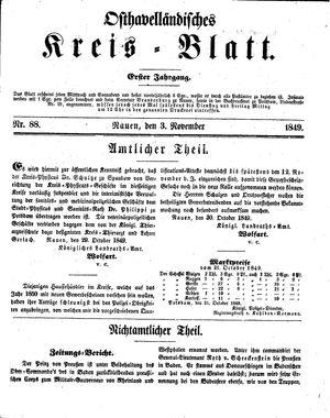 Osthavelländisches Kreisblatt vom 03.11.1849
