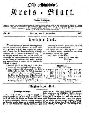Osthavelländisches Kreisblatt on Nov 7, 1849
