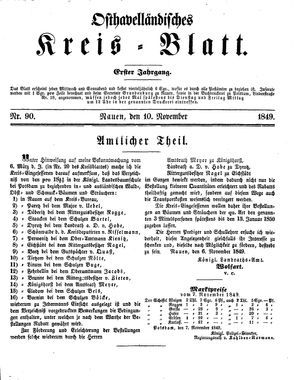 Osthavelländisches Kreisblatt vom 10.11.1849