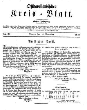 Osthavelländisches Kreisblatt vom 14.11.1849