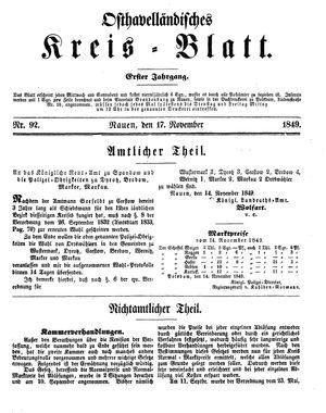 Osthavelländisches Kreisblatt vom 17.11.1849