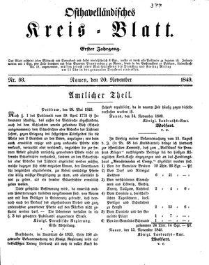 Osthavelländisches Kreisblatt vom 20.11.1849