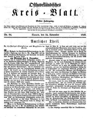 Osthavelländisches Kreisblatt vom 24.11.1849