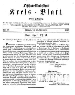 Osthavelländisches Kreisblatt on Nov 28, 1849