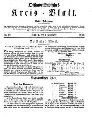 Osthavelländisches Kreisblatt vom 01.12.1849