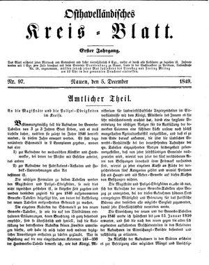 Osthavelländisches Kreisblatt on Dec 5, 1849