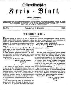 Osthavelländisches Kreisblatt vom 08.12.1849