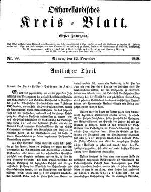 Osthavelländisches Kreisblatt vom 12.12.1849