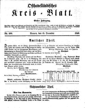 Osthavelländisches Kreisblatt vom 15.12.1849