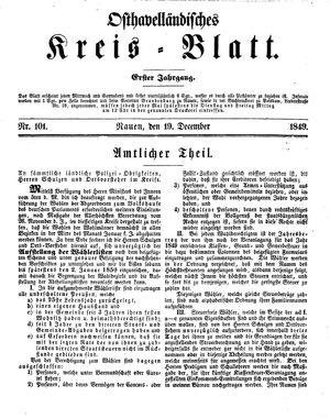 Osthavelländisches Kreisblatt vom 19.12.1849