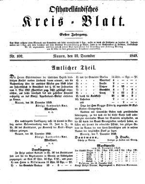 Osthavelländisches Kreisblatt vom 22.12.1849