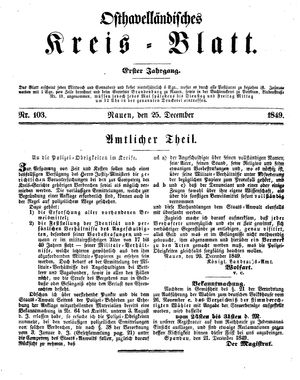 Osthavelländisches Kreisblatt vom 25.12.1849