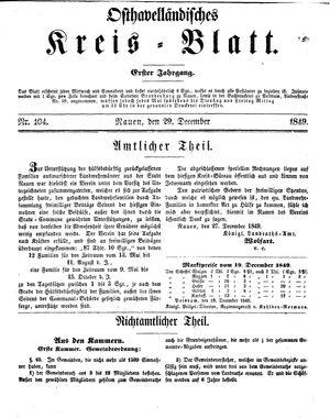 Osthavelländisches Kreisblatt vom 29.12.1849