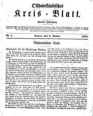 Osthavelländisches Kreisblatt vom 02.01.1850
