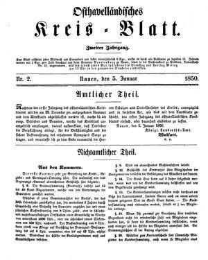 Osthavelländisches Kreisblatt vom 05.01.1850