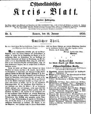 Osthavelländisches Kreisblatt vom 16.01.1850