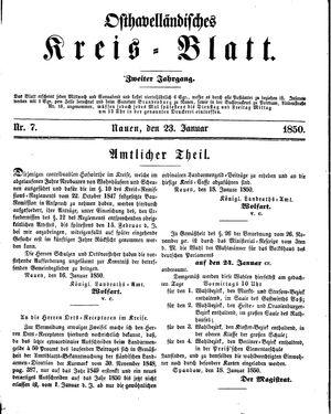 Osthavelländisches Kreisblatt on Jan 23, 1850