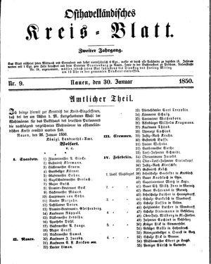 Osthavelländisches Kreisblatt vom 30.01.1850