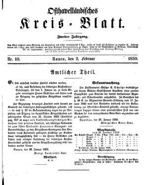 Osthavelländisches Kreisblatt vom 02.02.1850