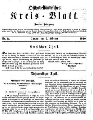 Osthavelländisches Kreisblatt vom 06.02.1850