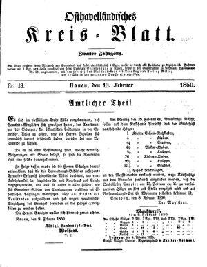 Osthavelländisches Kreisblatt vom 13.02.1850