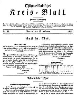 Osthavelländisches Kreisblatt vom 16.02.1850
