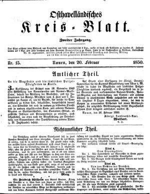 Osthavelländisches Kreisblatt on Feb 20, 1850