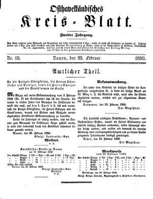 Osthavelländisches Kreisblatt vom 23.02.1850