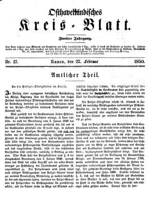 Osthavelländisches Kreisblatt vom 27.02.1850